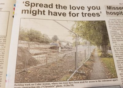 A piece in the Alsager Chronicle in 2018 about Jane's push to protect local trees