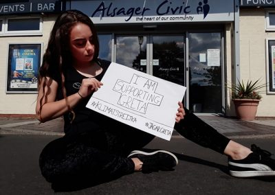 AWP member Ioana Andor supporting Greta Thunberg's Climate Strike, 2018
