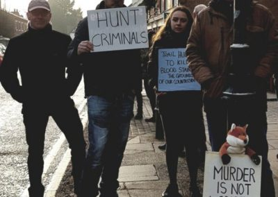 At the Boxing Day protest against fox hunting, Tarporley, 2018