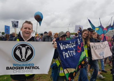 Jane Smith and Wounded Badger Patrol colleagues, People's Walk for Wildlife, London, Sept18