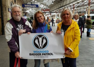 Jane Smith at Crewe Station on the way to the People's Walk for Wildlife, London, Sept 18