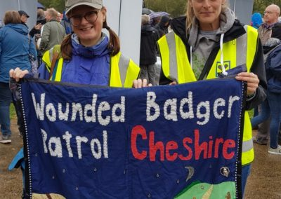 Jane Smith marching with Wounded Badger Patrol colleagues, People's Walk for Wildlife