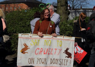 Jane Smith protesting against a proposed rabbit factory farm, Stafford, 2017