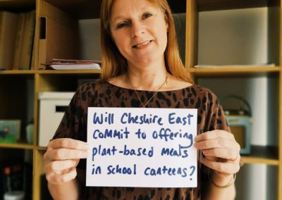 Jane Smith campaigning for plant-based school meals in Cheshire East borough, Summer 2018