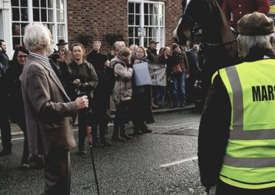 Local campaigner Neil Armstrong, 79, standing up to the hunt at Tarporley